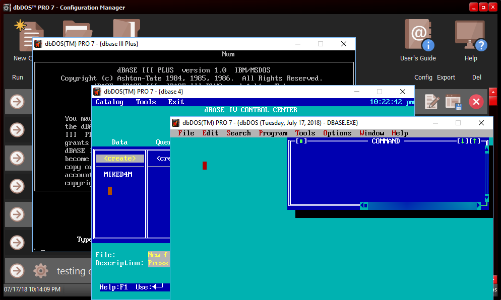 dbDOS(TM) PRO 7 running dBASE V for DOS