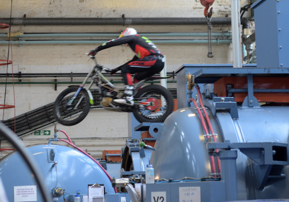 Dougie Lampkin jumps from a Vacuum Furnace