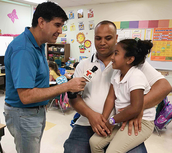 Luis Carrera, Telmundo 51, interviews Neighborhood Dad & daughter